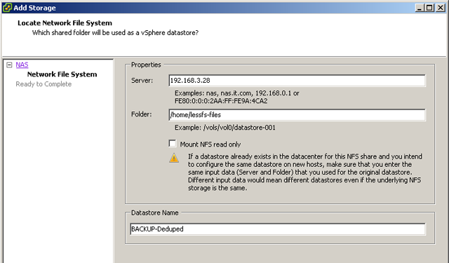 Provide Network Filesystem details